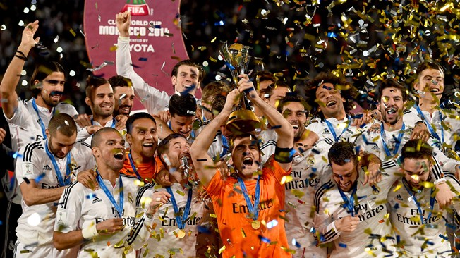 Iker Casillas of Real Madrid lifts the trophy after winning the FIFA Club World Cup