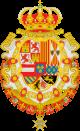 Escudo de Felipe V de España Toisón y Espiritu Santo Leones de gules.svg